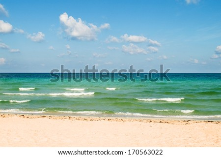 Sand beach on the bright summer day