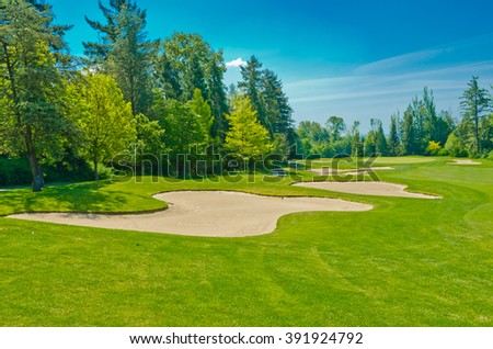 Sand bunkers at the beautiful  golf course.  Vancouver, Canada. - stock photo