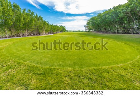 Sand bunkers at the golf course. - stock photo