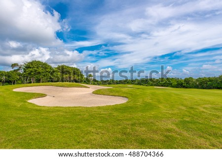Sand bunkers at the golf course.