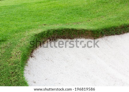 Sand bunkers on the beautiful golf course