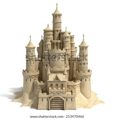 sand castle isolated on white background - stock photo