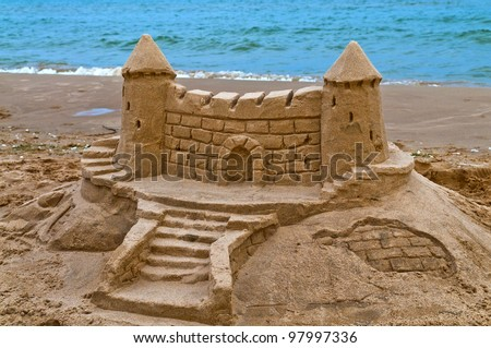 Sand Castle on the beach of lake Michigan - stock photo