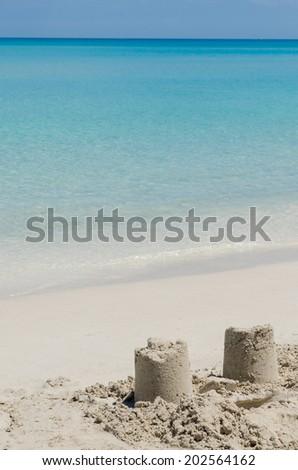 sand castle ruins, seashore - stock photo