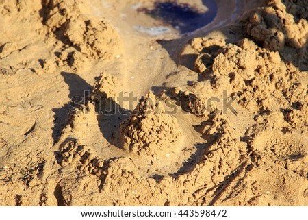 Sand castle. Selective soft focus - stock photo