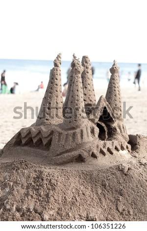 sand castle showing gaudi La Sagrada Familia - stock photo