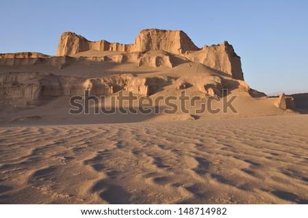 Sand castles in the iranian desert (Kaluts) - stock photo