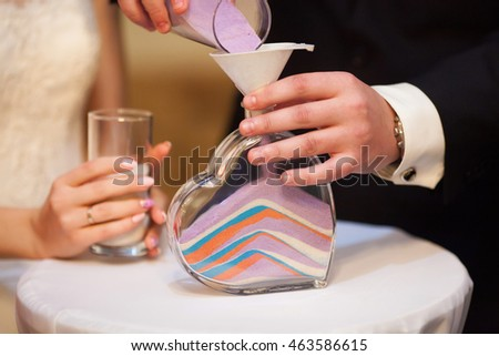 Sand Ceremony On Wedding Glass Vase Stock Photo 463586615 Shutterstock