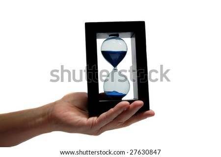 Sand clock in the hand 2 - stock photo