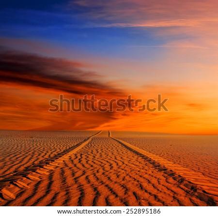 sand desert at the dusk - stock photo