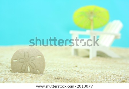 Sand Dollar and Beach Chair, Shallow DOF - stock photo