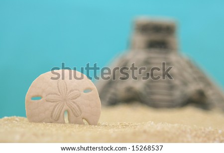 Sand Dollar and Pyramid on Beach, Shallow DOF - stock photo