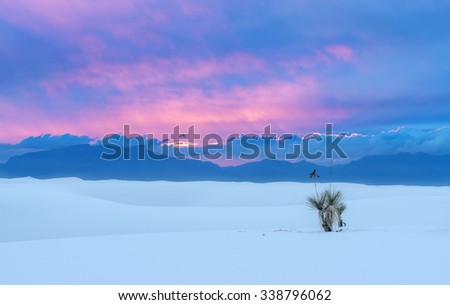 Sand Dune at White Sands National Monument, New Mexico, USA at sunset - stock photo