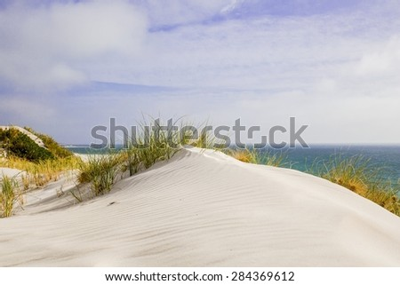 Sand Dune Australia Beach White Blue Peaceful - stock photo