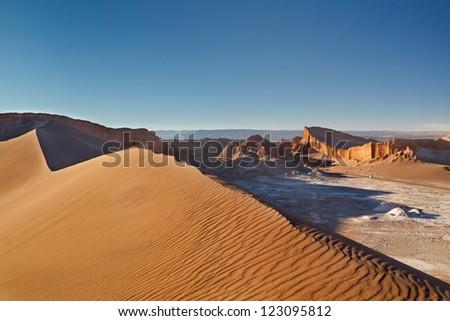 Sand dune in Valle de la Luna, Atacama Desert, northern Chile - stock photo