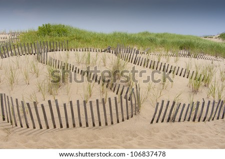 Sand dune protection fence against erosion
