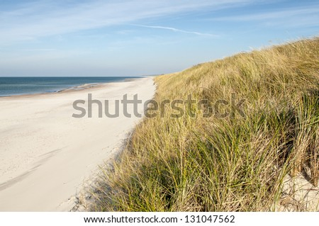 Sand dune viewpoint at Curonian Spit in Lithuania - stock photo