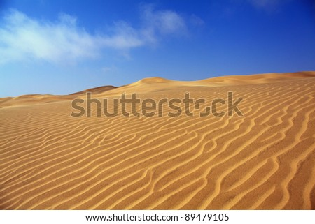 sand dune with blue sky in the namibian desert - stock photo