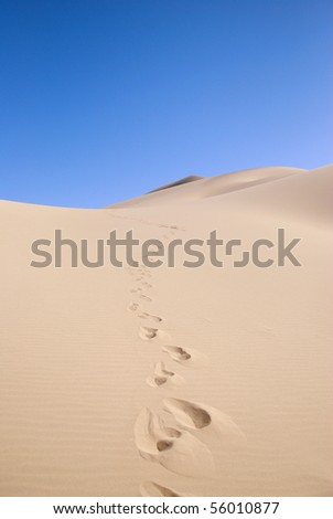 Sand Dune with Footprints - stock photo