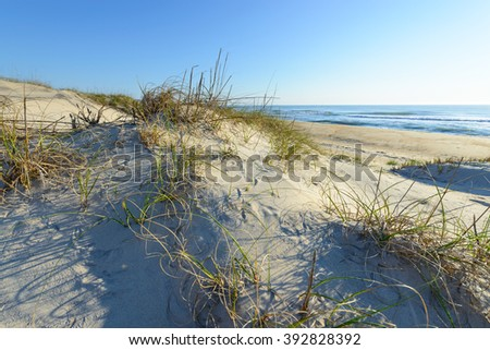 Sand Dunes Along Ocean of North Carolina  - stock photo