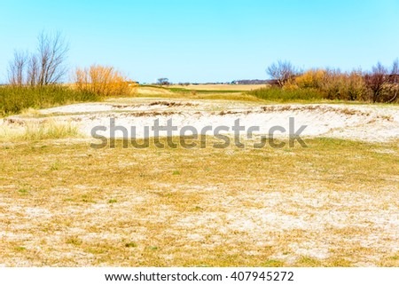 Sand dunes and dry grass on the shore of Falsterbo, Sweden. It is a lovely spring day with sunshine and blue sky. - stock photo