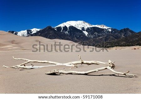 Sand Dunes and Mountains - stock photo