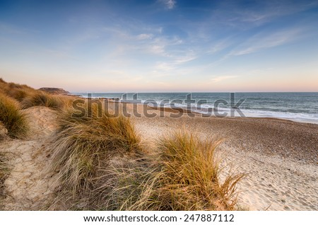 Sand dunes at Hengistbury Head beach near Christchurch in Dorset - stock photo