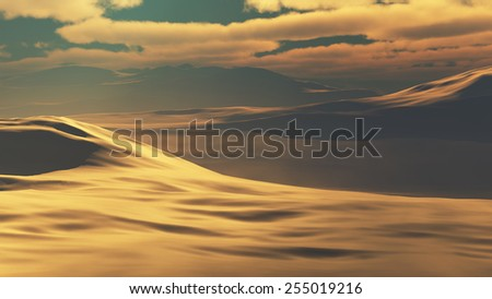 Sand dunes at sunset hot - stock photo