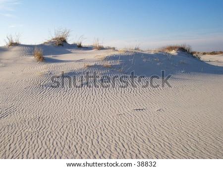 Sand Dunes at sunset on Assateague Island, near Ocean City, Maryland. - stock photo