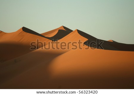 Sand dunes in desert Sahara in Morocco - stock photo