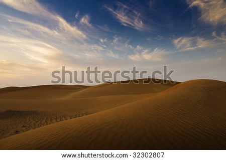 sand dunes in Dubai - stock photo