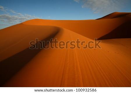 Sand dunes in erg Chebbi, Morocco - stock photo