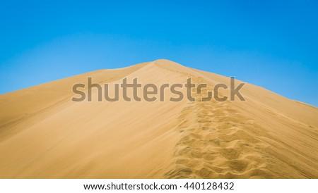 Sand dunes in Huacachina desert, Ica Region, Peru - stock photo