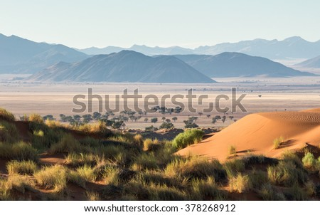 Sand dunes in the Namib Rand Reserve in Namibia - stock photo