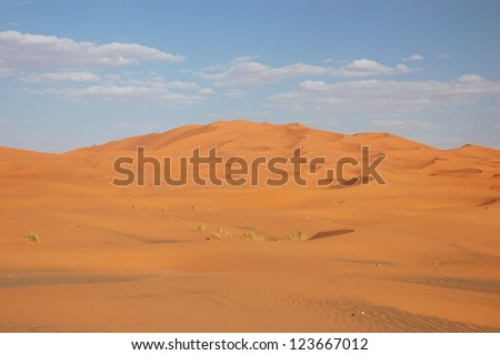 Sand Dunes of Erg Chebbi in the Sahara Desert, Morocco - stock photo