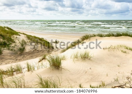 Sand dunes on the Baltic sea coastline in Nida. Lithuania