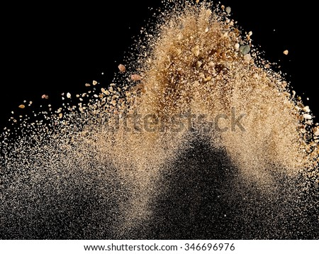 Sand explosion, close up - stock photo