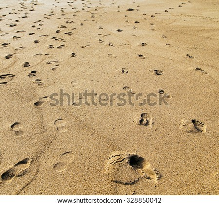 sand footprints texture - stock photo