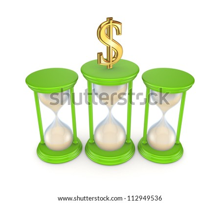 Sand glasses and dollar symbol.Isolated on white background.3d rendered. - stock photo