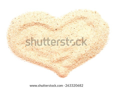 sand heart isolated on white background