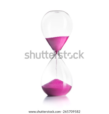 Sand hourglass isolated on white background - stock photo