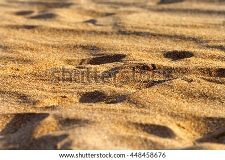 Sand on beach in sun summer day. Selective focus. - stock photo