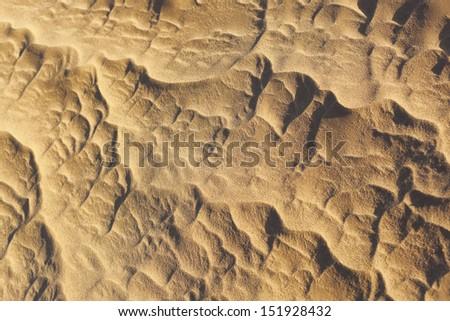 Sand pattern in the Sahara desert of Morocco. - stock photo