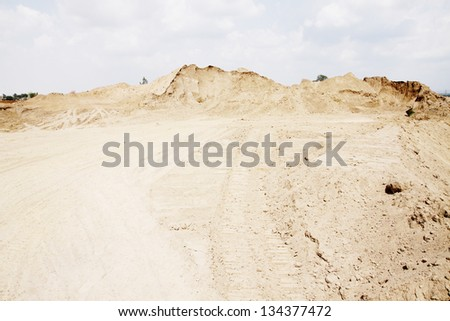 Sand pile at construction site