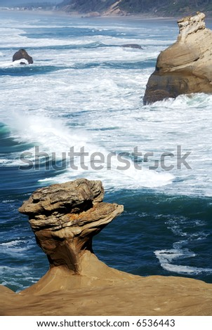 Sand Rock Formations, Pacific City Oregon - stock photo