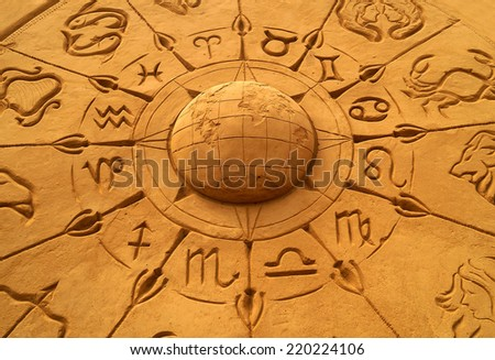 sand sculpture of the horoscope circle depicting various zodiac/sun sign and the constellation symbols taken at sand museum,Mysore,India - stock photo