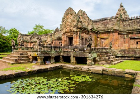 Sand stone castle, phanomrung in Buriram province, Thailand. Religious buildings constructed by the ancient Khmer art, Phanom rung national park in North East of Thailand.