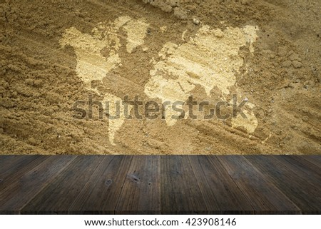 Sand texture surface natural color use for background with Wood terrace and world map