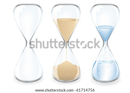 Sand, Water and Empty Clocks, Isolated On White - stock photo