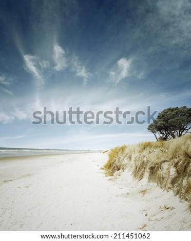 Sand, water and sky beach scenery - stock photo